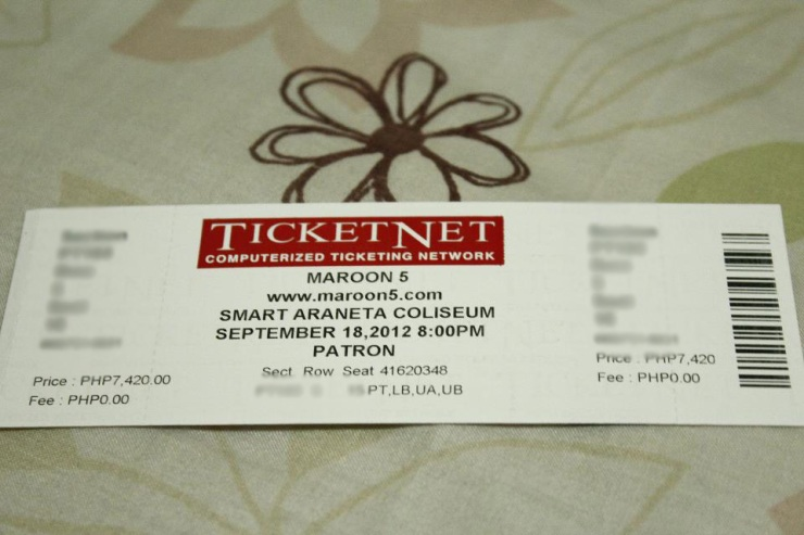 My Maroon 5 (and The Cab) concert ticket!