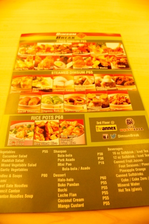 Dimsum Break's menu