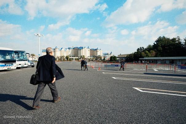 Toshi-san walking briskly, as usual